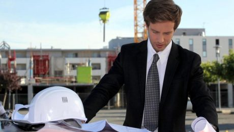 a property surveyor on site